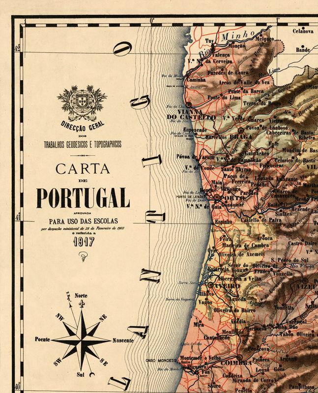 mapa de portugal medieval Old Map of Portugal 1917, Mapa de Portugal, Portuguese map   OLD  mapa de portugal medieval