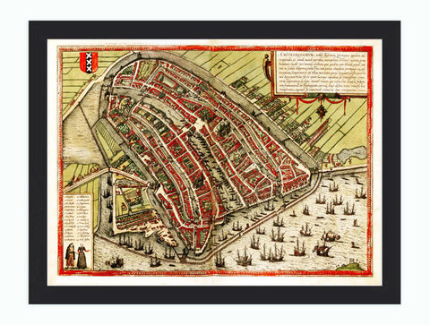 Old,Map,of,Amsterdam,,Netherlands,Illustration,Gravure,1572,Art,Reproduction,Amsterdam,gravure,old_map,city_plan,medieval,engraving,vintage_amsterdam,old_amsterdam,old_map_amsterdam,map_of_amsterdam