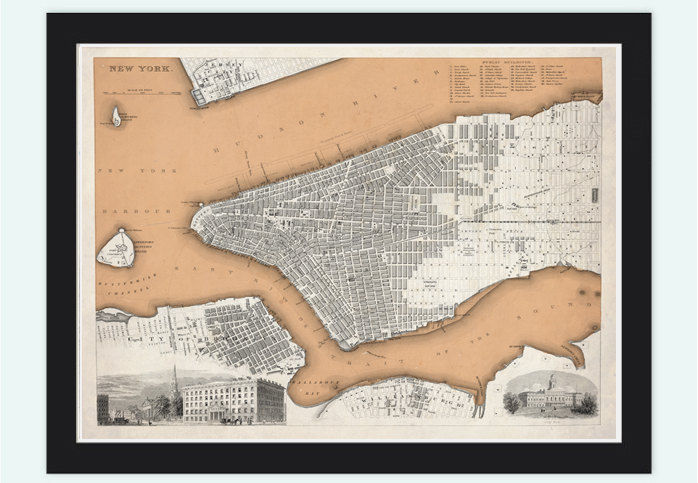 Old Map of New York Brooklyn Plan 1840 Vintage New York Map - product images  of