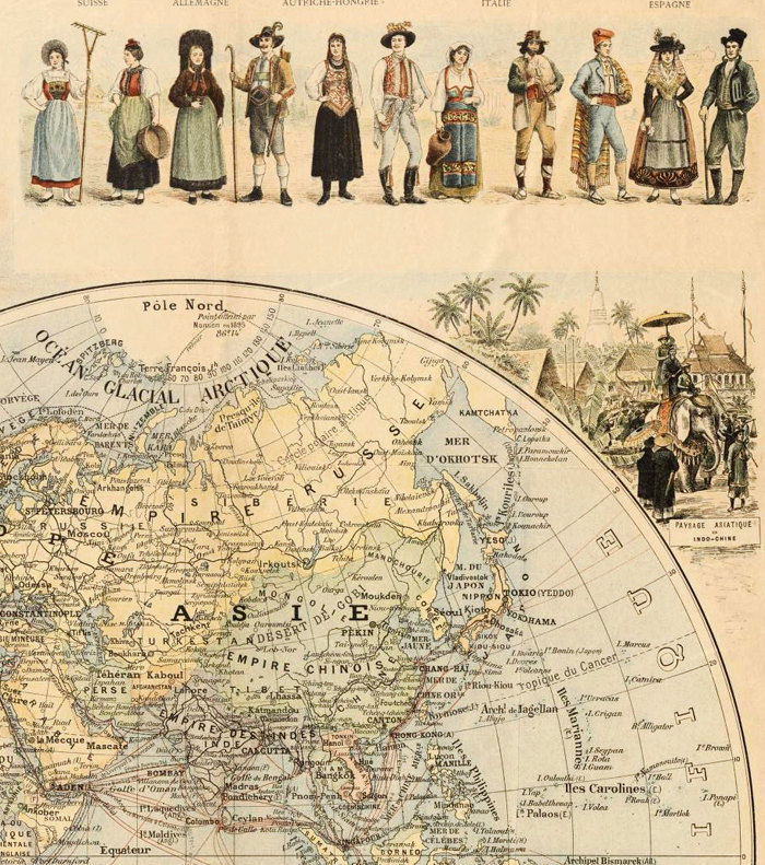 Old World Map 1900 people of the world - product image
