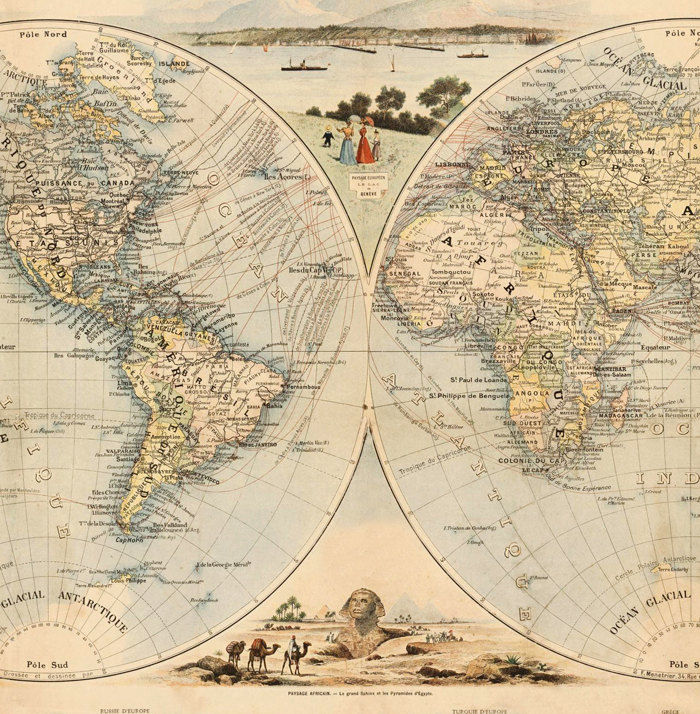 Old World Map 1900 people of the world - product images  of