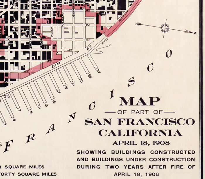 Vintage Map of San Francisco, Fire Damage United States of America 1908 - product image
