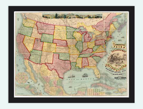 Old,Map,of,United,States,32x24,American,Union,Railroad,1871,Art,Reproduction,Open_Edition,old_map,antique,atlas,illustration,antique_map,vintage_map,north_america,united_states,united_states_map,american,union_railroad