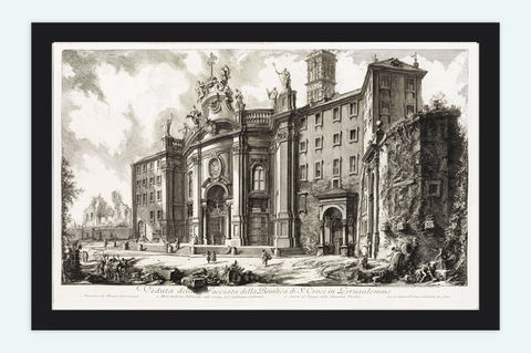 Giovanni,Battista,Piranesi,Basilica,di,S.Crioce,View,Rome,Art,Reproduction,Open_Edition,Italia,gravure,engraving,Roma,Piranese,Giovanni_Battista,antique,sketch,Ruins,architecture_drawing,antique_art