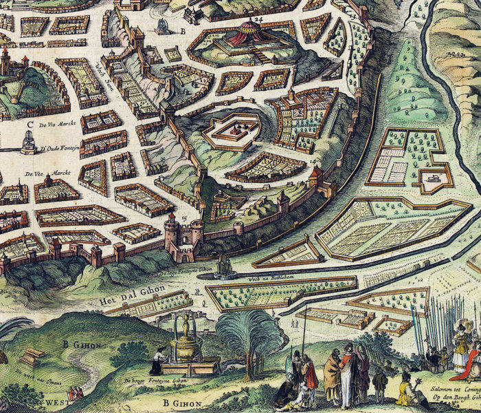 Old Map of Jerusalem Holy Land Palestine engraving medieval - product image