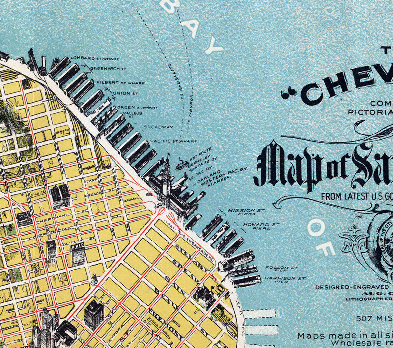 Old Map of San Francisco 1912 The Chevalier Map  - product images  of