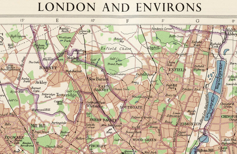 Old Map of London England 1955 Vintage Map of London - product images  of