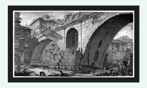 Giovanni,Battista,Piranesi,Bridge,With,Loggias,Engraving,Rome,1756,Art,Reproduction,Open_Edition,architecture_drawing,engraving,Roma,Giovanni_Battista,antique,medieval_rome,wall_decor_rome,romans,rome_decor,antique_rome,architecture