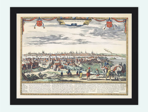 Old,Vintage,Panoramic,View,of,Istambul,Costantinopolis,Turkey,1680,medieval,Art,Reproduction,Open_Edition,city,vintage,plan,gravure,illustration,city_plan,constantinopolis,istambul,turkey,panoramic_view,old_map,vintage_map