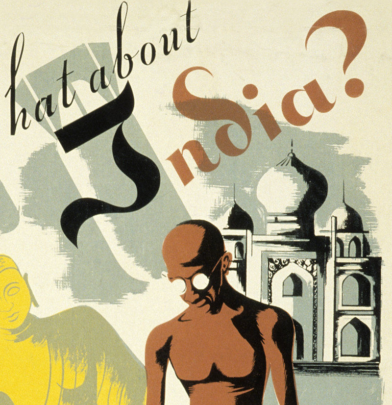 "Vintage Poster of India Ghandi and the Taj Mahal 1940 ""What About India"" - product images  of"