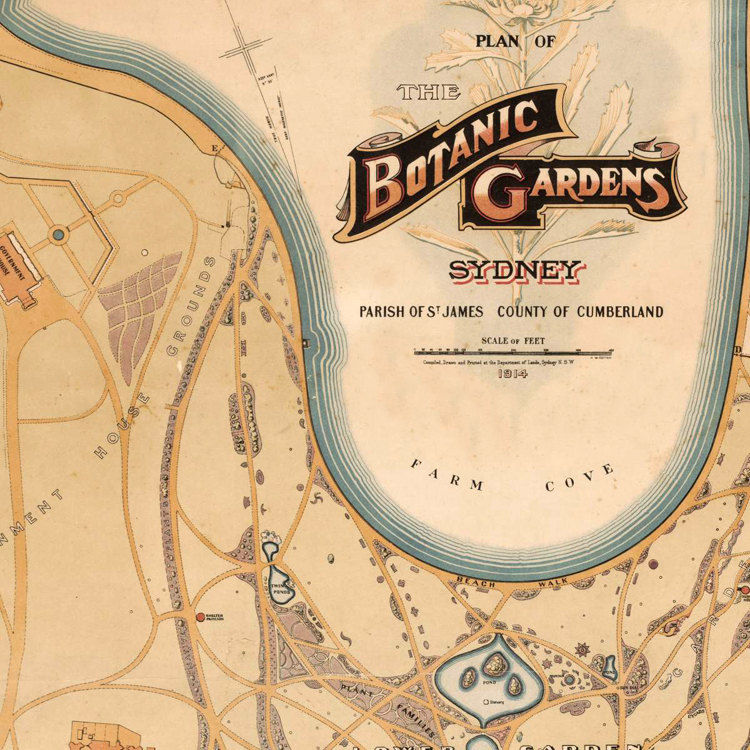 Vintage Plan of the Botanic Gardens 1914, Sydney, Australia - product images  of