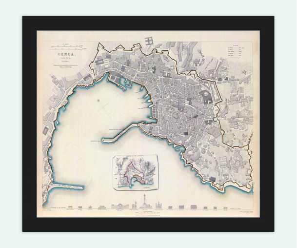 Old Map of Genova Genes Genoa , City Plan Italia 1836 Antique Vintage Italy - product images  of