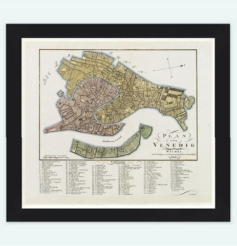 Vintage,Old,Map,of,Venice,Venetia,Venezia,,,Italy,1807,Art,Reproduction,Open_Edition,plan,venice,1886,old_map,italia,Veneza,city_plan,vintage_map,map_of_venice,venice_poster,venice_map
