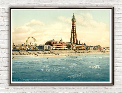 Vintage,Photo,of,Blackpool,,Lancashire,England,1895,Art,Reproduction,Open_Edition,vintage_poster,travel_poster,england_vintage,england_poster,chester_retro,england_art,english_decor,england_photo,chesire_art,pictoresque,Blackpool,north_pier