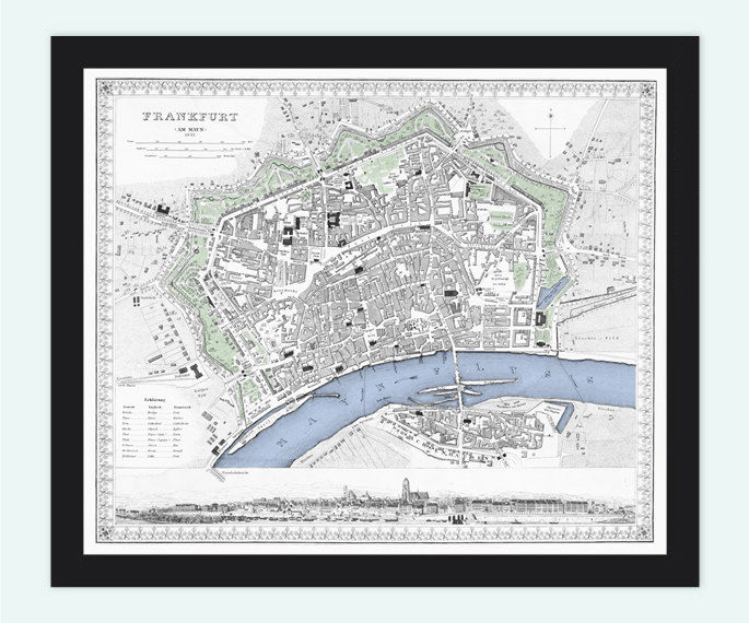 Old Vintage Map of Frankfurt and Mayn, Germany 1845 - product image