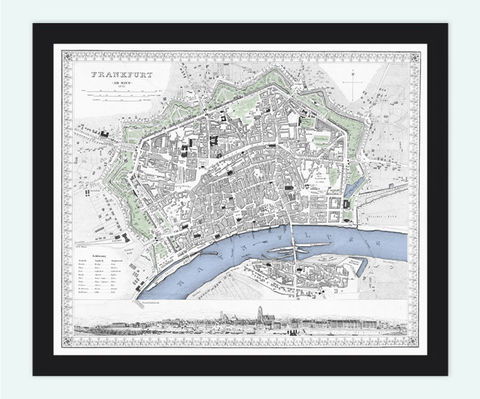 Old,Vintage,Map,of,Frankfurt,and,Mayn,,Germany,1845,Art,Reproduction,Illustration,frankfurt,mayn,main,illustration,panoramic_view,antique,old_map,city_plan,frankfurt_map,map_of_frankfurt,frankfurt_retro,frankfurt_vintage, maps reproductions