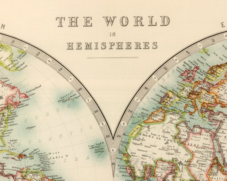 Old World Map Atlas Vintage World Map 1912 Two Hemispheres - product images  of
