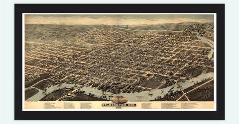 Vintage,map,of,Wilmington,1874,Delaware,Birdseye,View,Art,Reproduction,Open_Edition,city_map,retro,birdseye,vintage_map,birdseye_view,oakland_map,city_plan,wilmington_delaware,vintage_wilmington,wilmington,wilmington_poster,delaware,wall_decor