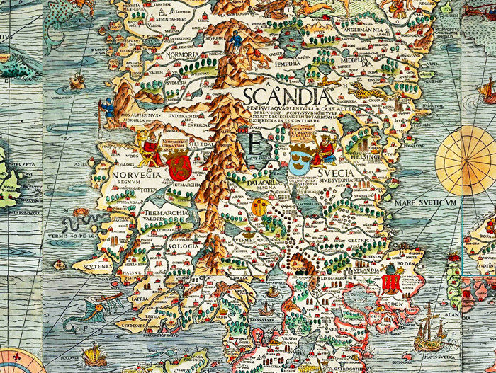 Old Vintage Map of Norway Sweden Scandinavia Antique Norwegen 1529 Olaus Magnus' detailed map of Scandinavia - product image