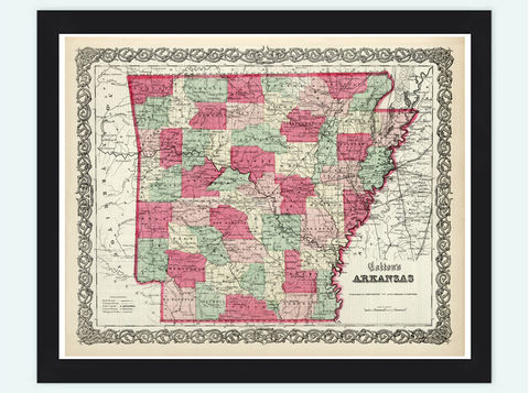 Old,Map,Arkansas,State,1865,United,States,of,America,arkansas, map of arkansas