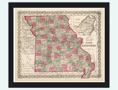 Old,Map,Missouri,State,1869,United,States,of,America,missouri, missouri map, vintage maps