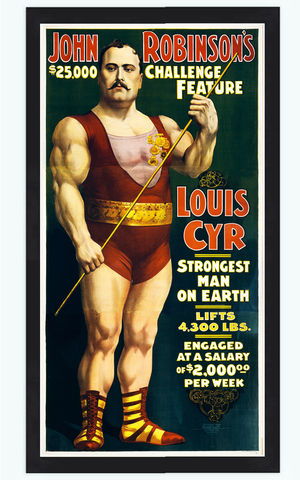 Vintage,Poster,strongest,man,on,earth,Louis,Cyr,1898,Performing,Arts,Posters