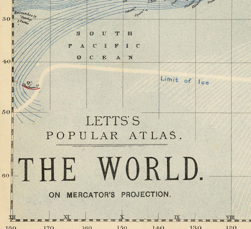 Vintage World Map 1883 Mercator projection - product image