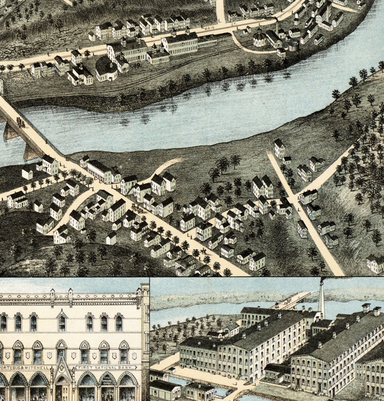 Old Map of Norwich, Connecticut United States 1876 - product image