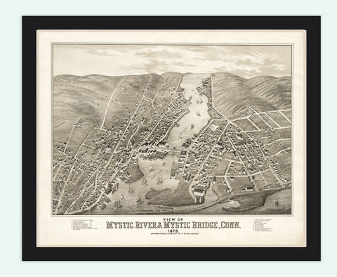 Old,Map,of,Mystic,River,Bridge,,Connecticut,United,States,1879,mystic river, mystic bridge, mystic river map, mystic river connecticut, mystic river poster