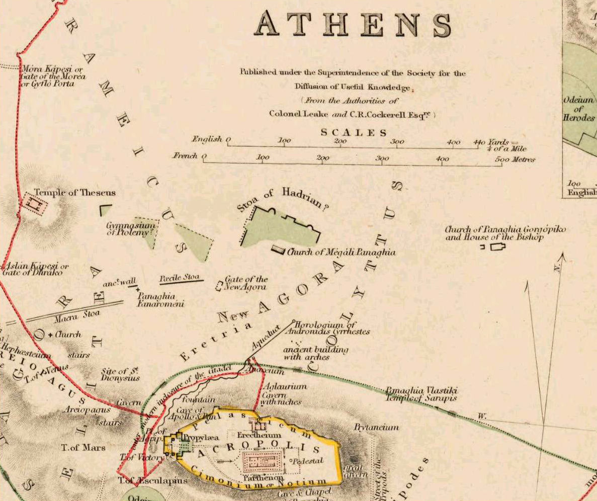 Old Map of Athens Acropolis, Greece 1853 Vintage map - product images  of