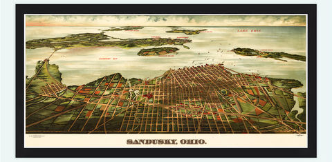 Sandusky,Ohio,Panoramic,View,Vintage,1898,sandusky, sandusky ohio, sandusky map, map od sandusky, vintage map, old map, birdseye view, panoramic view