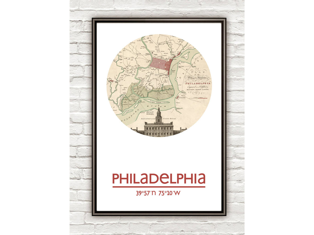 PHILADELPHIA - city poster - city map poster print - product images  of