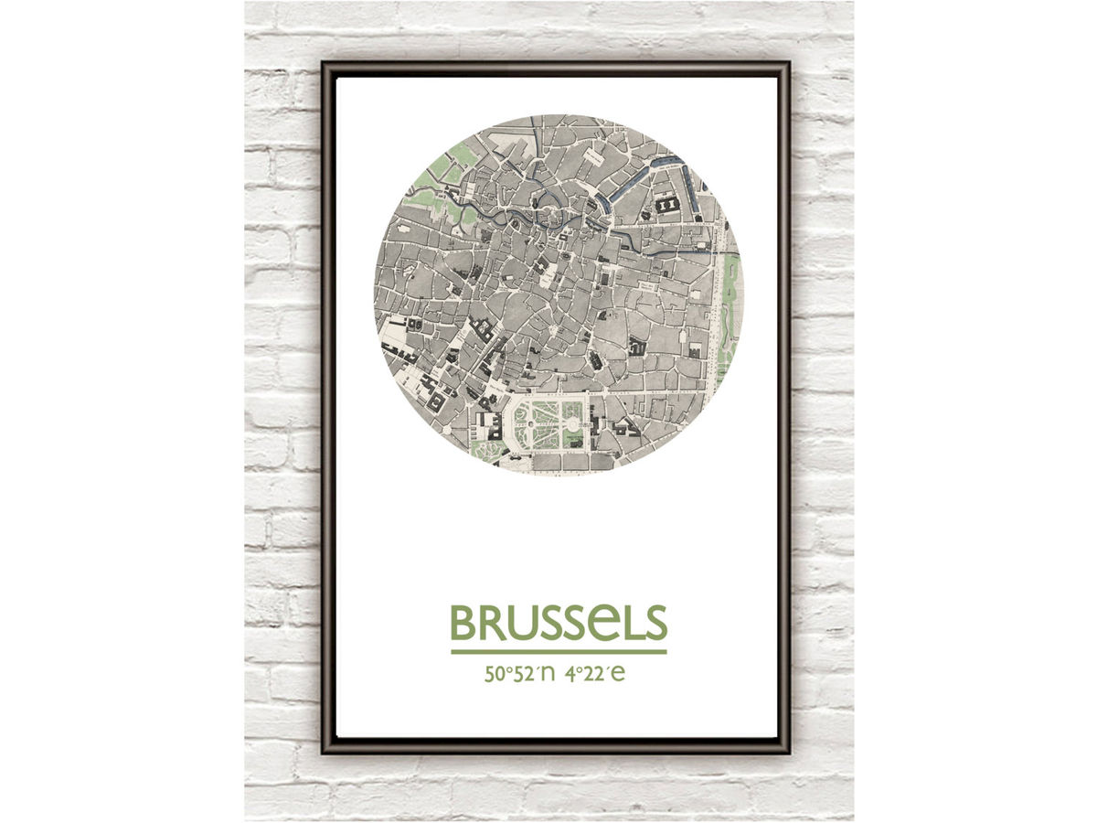BRUSSELS - city poster - city map poster print - product images  of