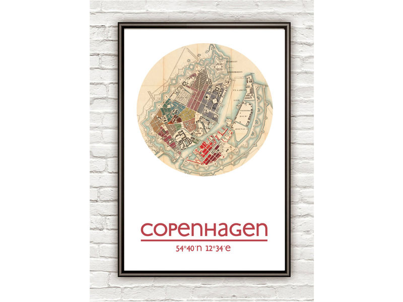 COPENHAGEN - city poster - city map poster print - product image