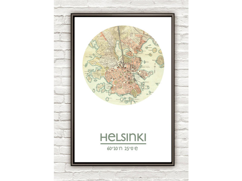 HELSINKI - city poster - city map poster print - product image