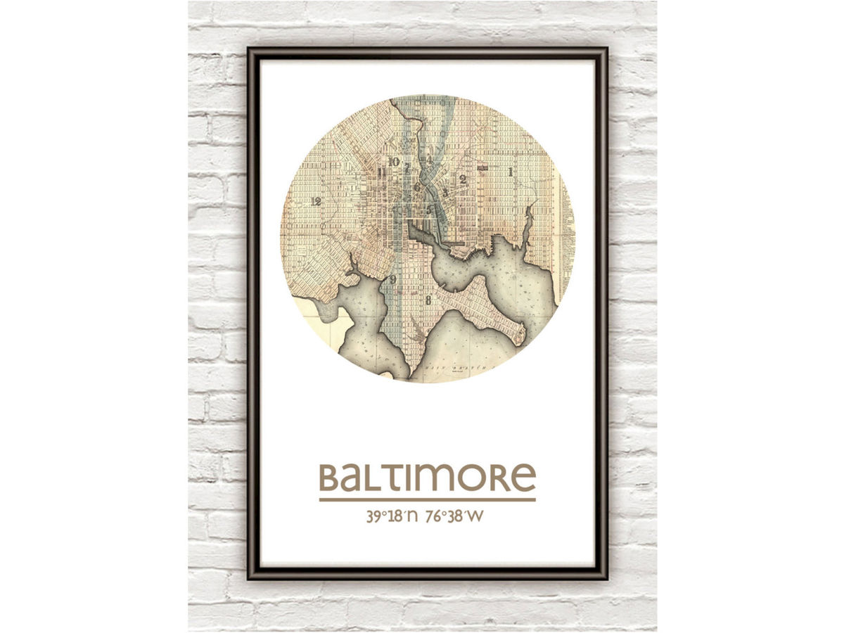 BALTIMORE - city poster - city map poster print - product images  of