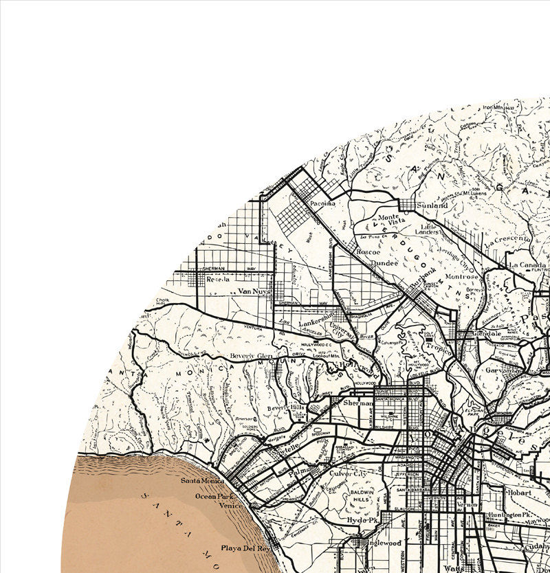 LOS ANGELES - city poster - city map poster print - product images  of