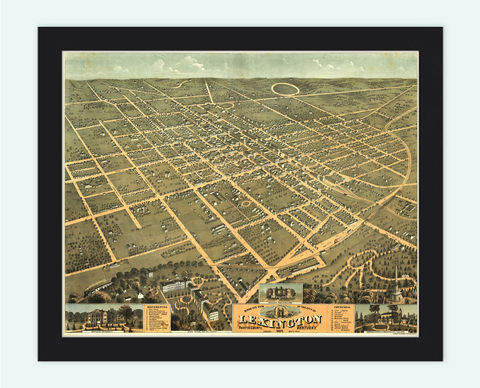 Lexington,Kentucky,1871,Panoramic,View,Vintage,lexington, map of lexington, lexington city, lexington map,lexington kentucky, panoramic view, birdseye, maps and prints, old map, lexington poster