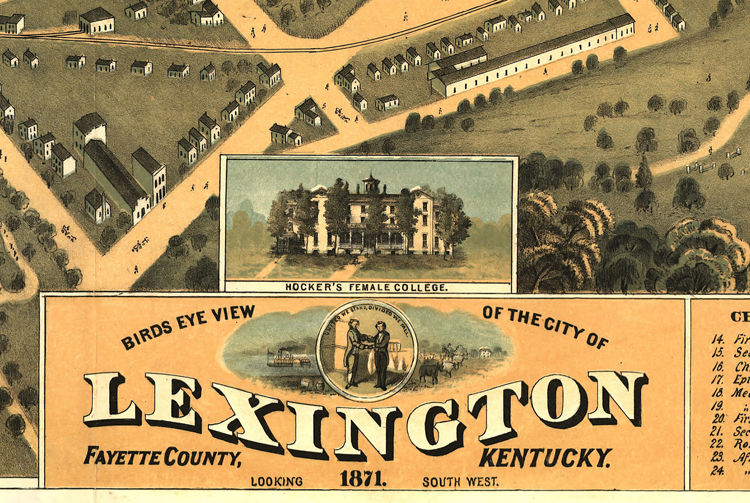 Old Map of Lexington Kentucky 1871 Panoramic View Vintage Map - product images  of