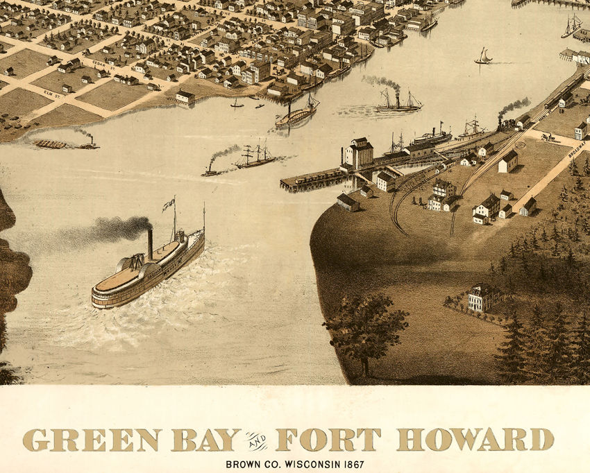 Green Bay Fort Howard Wisconsin 1867 Panoramic View Vintage - product images  of
