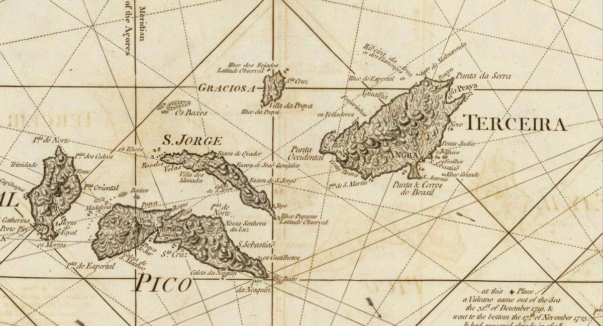 Old Map Of Acores Azores Islands 1787 Portuguese Map Vintage Maps And Prints