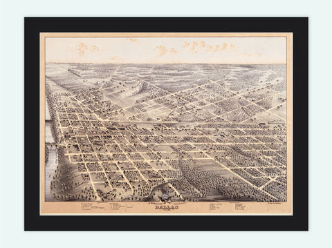 Dallas,Texas,Old,Panoramic,View,1872,old,map,of,panoramic view  , birdseye , vintage map  , old map  , dallas poster, dallas, dallas texas, dallas map, map of dallas, dallas vintage, dallas gift, old map of dallas