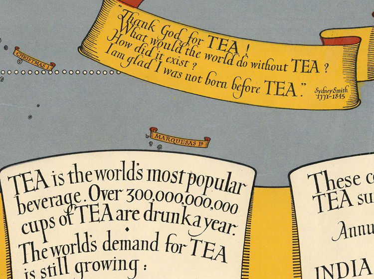 Vintage World Map Thematic Tea Market Expansion - product image