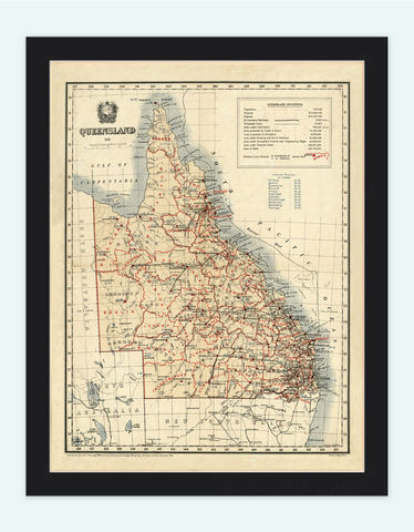 Old,Map,of,Queensland,Australia,1911,Vintage,queensland, vintage map, queensland map, map of queensland, queensland poster,New_Zealand,oceania,australia_map,new_zealand_map,map_of_australia,oceania_map,australia_vintage,australia_poster