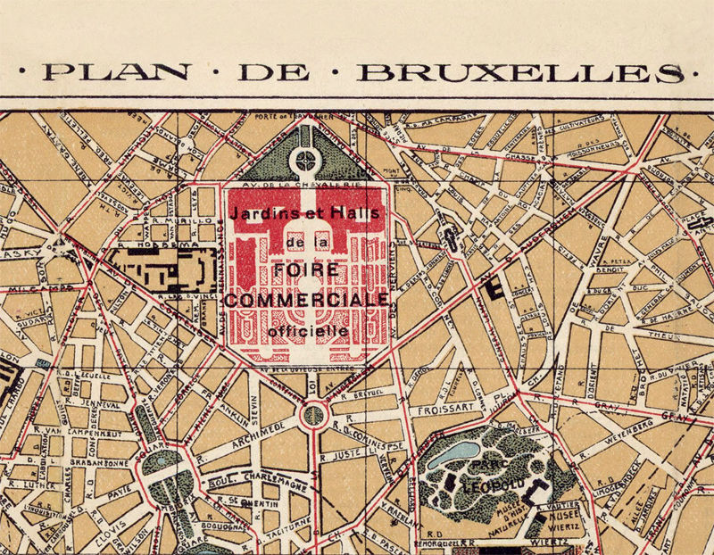 Old Map of Brussels Bruxelles, Belgium 1924 - product image