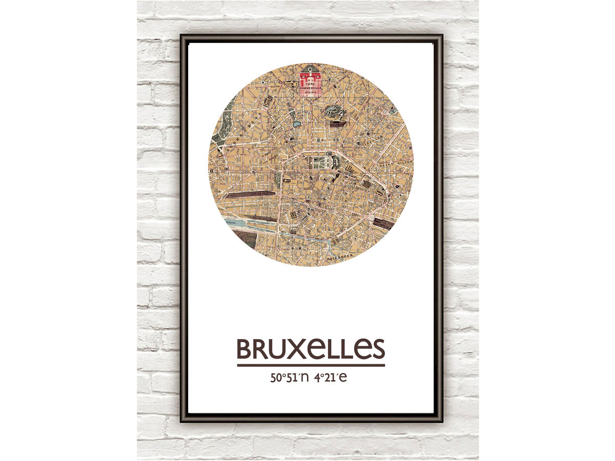 BRUSSELS BRUXELLES - city poster - city map poster print - product images  of