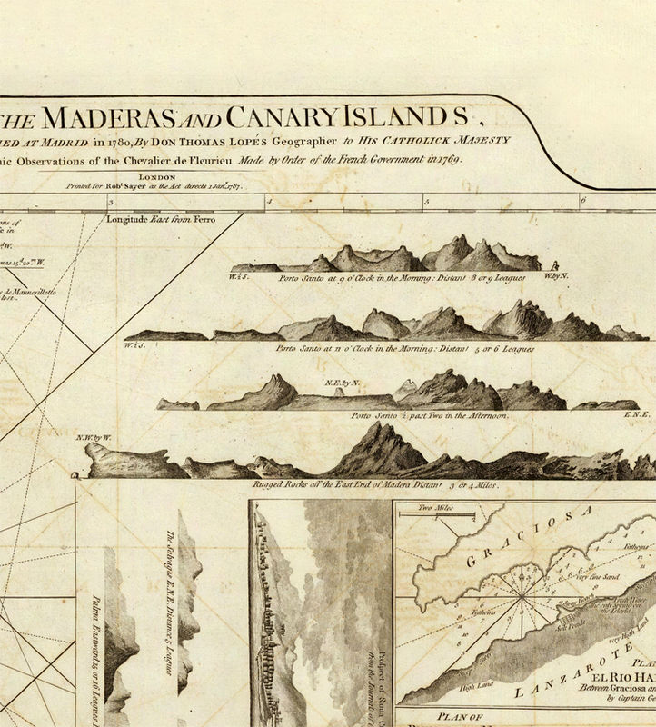 Old Map Canary Islands Madeira Islands 1787 - product image