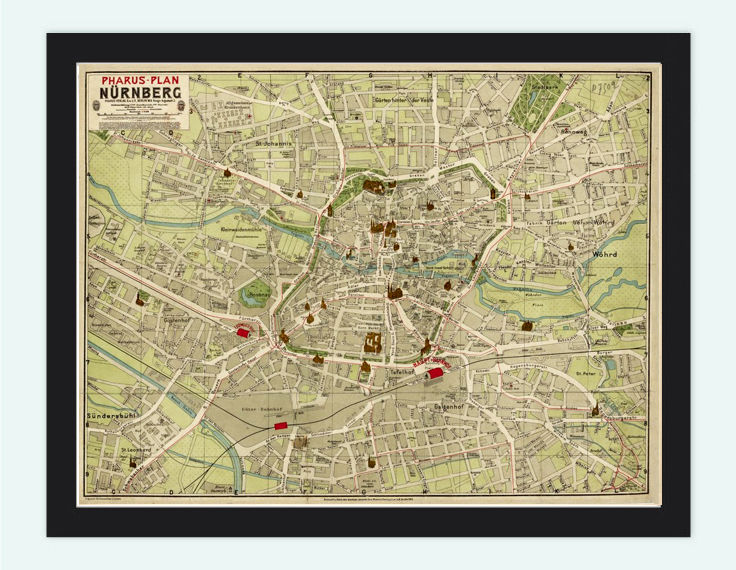 Old Map of Nuremberg 1903 France Vintage Map - product image