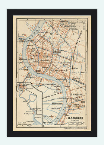 Old,Map,of,Bangkok,1914,Thailand,Vintage,nbangkok, bangkok thailand, bagkok map, bangkok poster, map of bangkok, old map