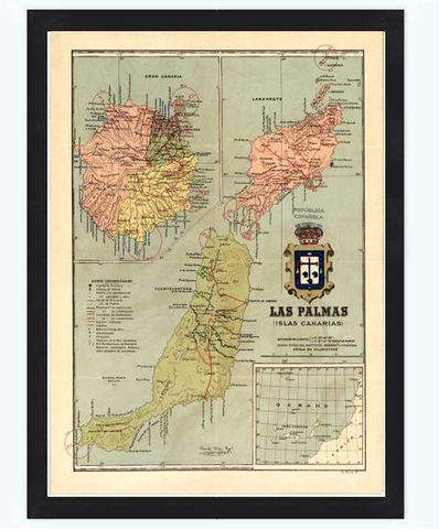 Old,Map,Las,Palmas,Canary,Islands,1900,las palmas map, mapa las palmas, old map las palmas, antique maps, old maps